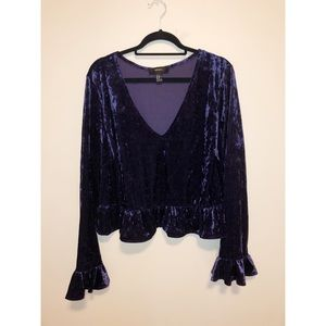 Purple Velvet Top with flared sleeves